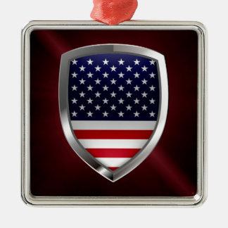 Metallisches Emblem Vereinigter Staaten Quadratisches Silberfarbenes Ornament