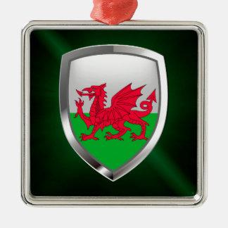 Metallisches Emblem Wales Silbernes Ornament