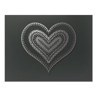 Metallisches Gekritzelherz nr 6 auf dunkelgrauem Postkarte