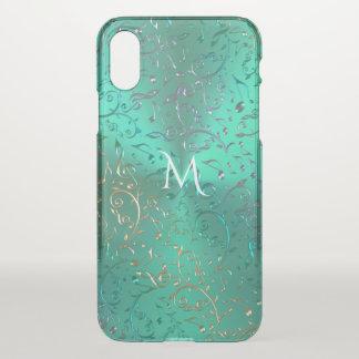 Metallisches Grün mit funkelndem Musiknoten iPhone X Hülle