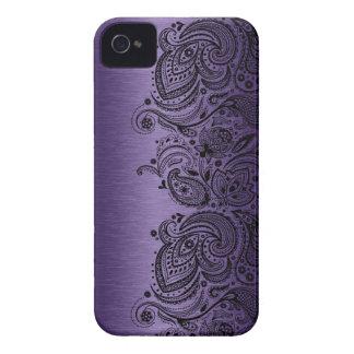Metallisches Lila mit schwarzer Paisley-Spitze Case-Mate iPhone 4 Hüllen