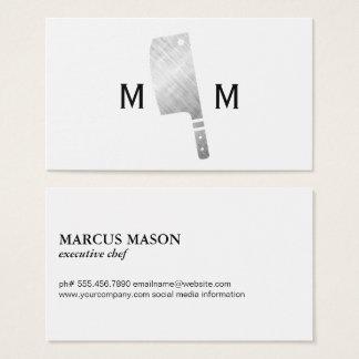 Metallisches Metzger-Messer-Monogramm Visitenkarte