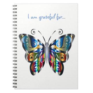 Metallisches Schmetterlings-Dankbarkeits-Notizbuch Notizblock