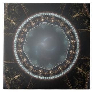 Metallisches verziertes Steampunk Fraktal-Bild Fliese