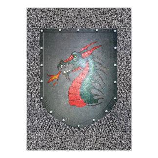 Metallschild-Drache Chainmail 14 X 19,5 Cm Einladungskarte