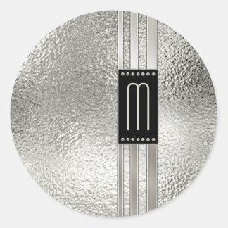 Metallstreifen auf Glasmonogramm beige ID443 Runder Aufkleber