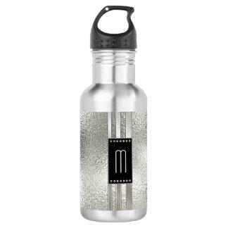 Metallstreifen auf Glasmonogramm beige ID443 Trinkflasche