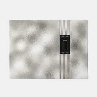 Metallstreifen auf Glasmonogramm beige ID443 Türmatte