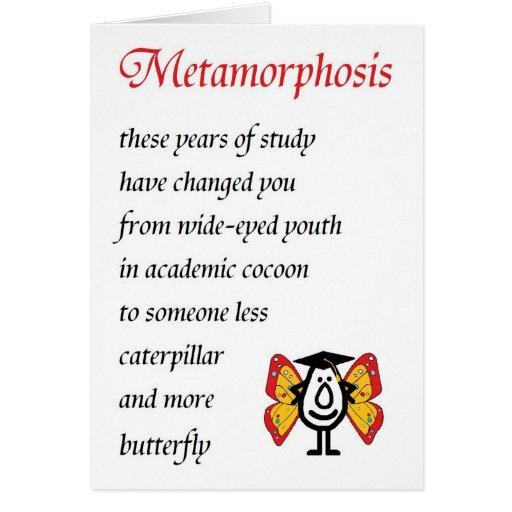 Metamorphose - ein lustiges Uni-Abschluss-Gedicht Grußkarten