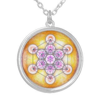 Metatrons Würfel - Sonne I Halskette Mit Rundem Anhänger