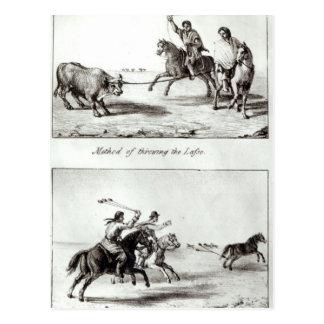 Methoden des Werfens des Lasso und der Kugelketten Postkarte