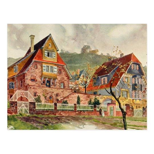 Metzendorf watercolor deutsche architektur vintag postkarte zazzle - Deutsche architektur ...