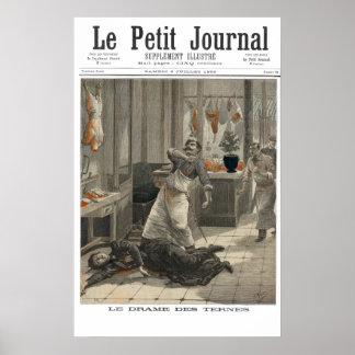 MetzgereienMord B&W - Zeitungspapier mit 1892 Fran Poster