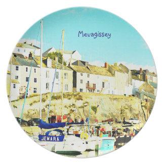 Mevagissey Cornwall England Wasserfarbe Flacher Teller