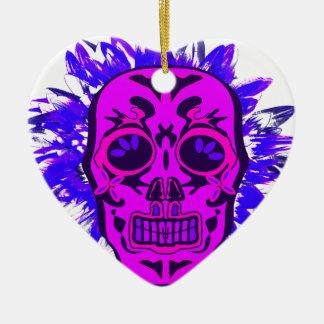 Mexican Skull Keramik Herz-Ornament