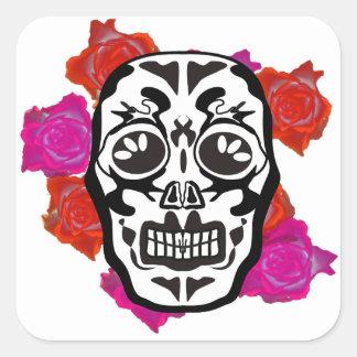 Mexican Skull Quadratischer Aufkleber