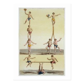 Mexikaner-darstellende Gymnastik (Farbelitho) Postkarte