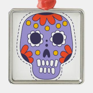 Mexikaner gemalter Schädel Quadratisches Silberfarbenes Ornament