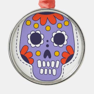 Mexikaner gemalter Schädel Silbernes Ornament
