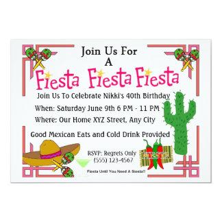 Mexikanische Fiesta lädt Geburtstags-Party ein 12,7 X 17,8 Cm Einladungskarte