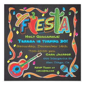 Mexikanische Fiesta-Party Einladung auf Tafel Quadratische 13,3 Cm Einladungskarte