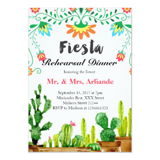 Mexikanische Fiesta-Proben-Abendessen-Einladung Karte