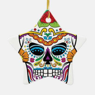 Mexikanische Flaggen-Rosen-Zuckerschädel Keramik Ornament