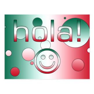Mexikanische Geschenke: Hallo/Hola + Smiley Postkarte