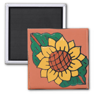 Mexikanische Sonnenblume-Fliese Quadratischer Magnet