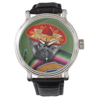 Mexikanische Uhr des Mops-Hundeledernen Bügels