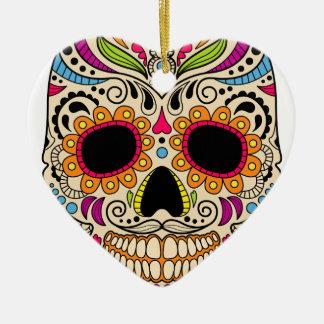 Mexikanischer Farbschädel Keramik Herz-Ornament