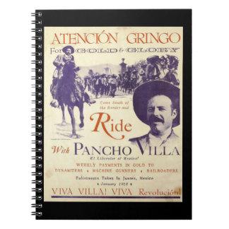 Mexikanischer Held-General Pancho Villa Spiral Notizblock