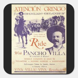 Mexikanischer Held-General Pancho Villas Quadratischer Aufkleber