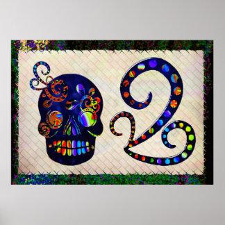 Mexikanischer Schädel 3D festlich Poster