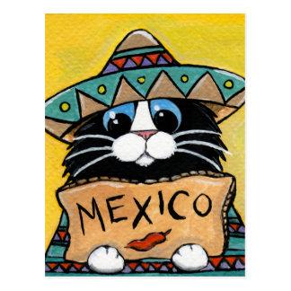 Mexikanischer Smokings-Katzen-Tramper Postkarte
