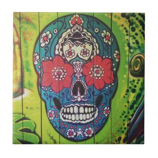 Mexikanischer TAG der TOTEN Graffitischädelkunst Kleine Quadratische Fliese