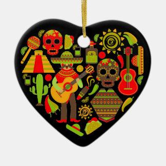Mexikanischer Tag des toten Mexikos Keramik Herz-Ornament