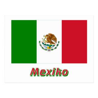 Mexiko Flagge MIT Namen Postkarte