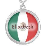 Mexiko-Flagge + Namenshalskette Halskette Mit Rundem Anhänger