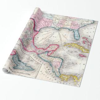 Mexiko, Mittelamerika und karibische Karte (1860) Geschenkpapier