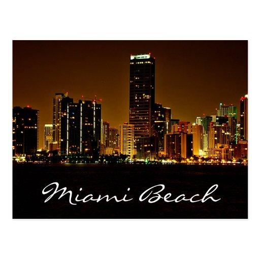 Miami Beach-Florida-NachtSkyline-Postkarte