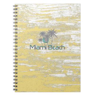 Miami Beach, Florida, Palmen, Grunge cool Spiral Notizblock