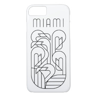 Miami-Flamingo-Schwarzes iPhone 8/7 Hülle