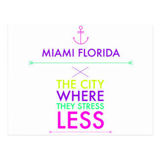 Miami Florida - betonen Sie weniger Postkarte