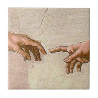 Michelangelo-Schaffung von Adam Keramikfliese