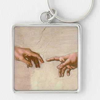 Michelangelo-Schaffung von Adam Silberfarbener Quadratischer Schlüsselanhänger