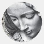 Michelangelos Pietadetail von Jungfrau-Marys Gesic Runde Sticker