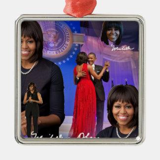 Michelle Obama Silbernes Ornament