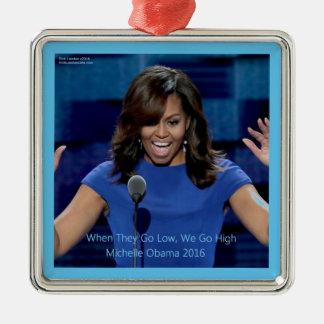 """Michelle Obama """"wir gehen"""" sammelbar auf HI Silbernes Ornament"""