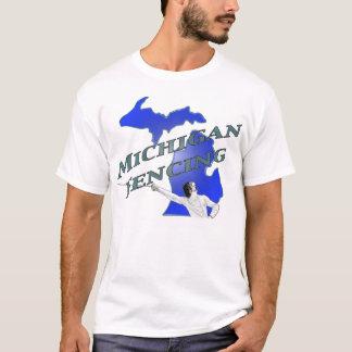 Michigan-Fechten - Blau mit grüner Beschriftung T-Shirt
